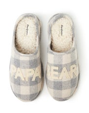 Dearfoams Papa Bear Cream Buffalo Check Clog Slipper