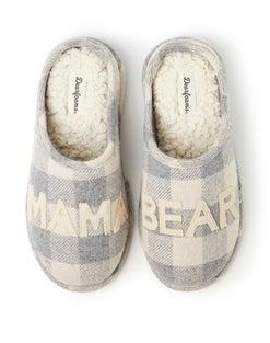 Dearfoams Mama Bear Cream Buffalo Check Clog Slipper