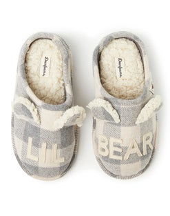 Dearfoams Lil Bear Cream Buffalo Check Clog Slipper