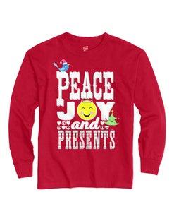 Hanes ComfortSoft® Girls' Peace joy & Presents Long Sleeve Tee