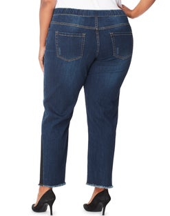 JMS 4 Pocket Pull On Jeans with Release Side Seams & Fray