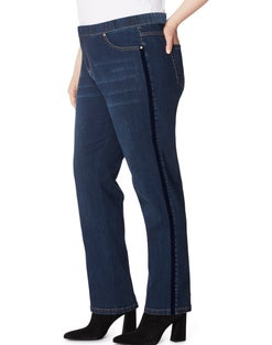 JMS 4 Pocket Pull On Jeans with Velvet Ribbon Detail