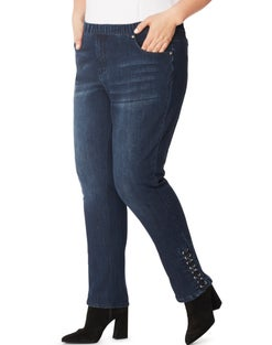 JMS 4 Pocket Pull On Jeans with Eyelets & Criss-Cross Detail