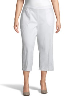 JMS Pull-On White Twill Cropped Pants