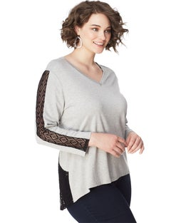 JMS French Terry Hi Lo Tunic with Diamond Lace Insets