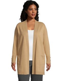 JMS Long 2-Pocket Cardigan with Button Detail