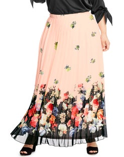 JMS Floral Border Chiffon Pleated Maxi Skirt