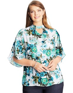 JMS Floral Tulip-Sleeve Top