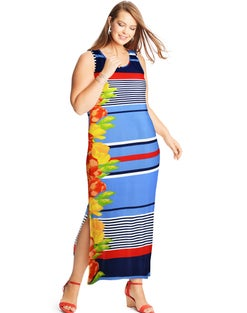 JMS Striped Floral Maxi Dress