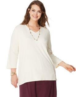 JMS On The Go 3/4 Sleeve V-Neck Top