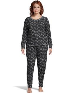 Jersey Long Sleeve Plus PJ Set--Black