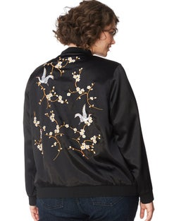 JMS Embroidered Satin Bomber Jacket