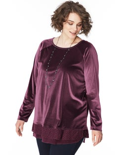 JMS Long Sleeve Lace Trim Velvet  Top