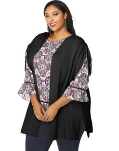 JMS Ruched Shoulder Sleeveless Cardigan