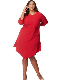 JMS 3/4 Sleeve V-Hem Dress