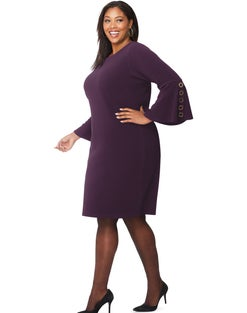 JMS Bell Sleeve Dress w/Grommet Detail