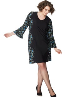 JMS Bell Sleeve Border Print Dress