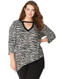 JMS Slanted Hem Animal Print Top