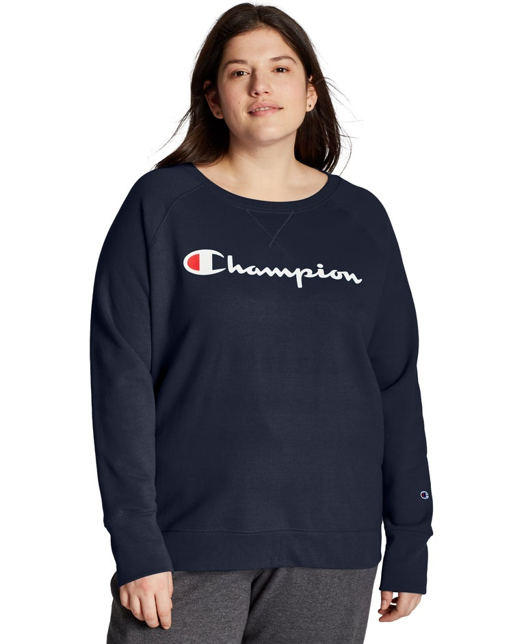 Champion Women's Plus Powerblend® Fleece Boyfriend Crew, Script Logo