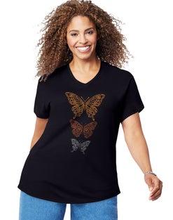 JMS Three Butterflies Short Sleeve Graphic Tee