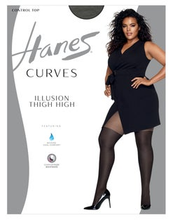 Hanes Curves Illusion Thigh Highs