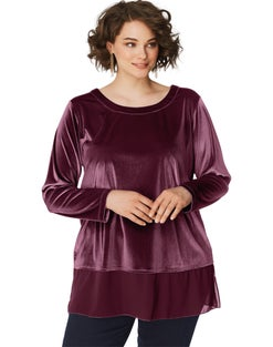 JMS 3/4 Sleeve Velvet  Top with Chiffon Trim