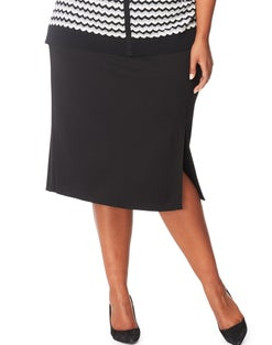 JMS Ponte Pencil Skirt with Front Slit