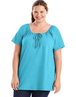 JMS Short-Sleeve Slub-Textured Cotton Women's Tunic with Crochet Trim