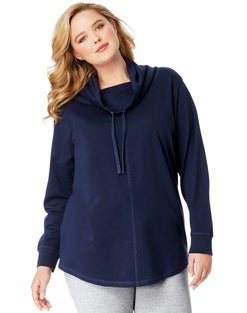 JMS Women's French Terry Lightweight Cowl-Neck Tunic