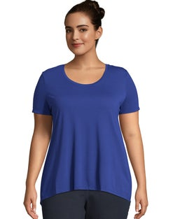 JMS Pleat Back Hi-Lo Hem Top
