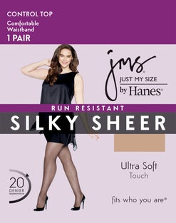 Just My Size Run-Resistant Silky-Sheer Pantyhose — 1-Pair Pack